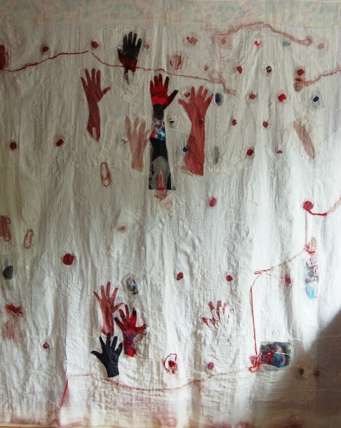 My baby is growing outside of my body Mixed media (Fabric, Cheese cloth, My Hair, Thread, Paper, Sari, Ink & Paint) 2012, 7.5 feet X 7 feet