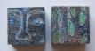 Magic of Meditation, 2015, Wood, color pens, lino cut, 2.5 inch X 2.5 inch