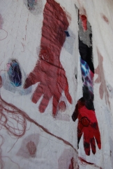 Close up of My baby is growing outside of my body Mixed media (Fabric, Cheese cloth, My Hair, Thread, Paper, Sari, Ink & Paint) 2012, 7.5feet X 7 feet