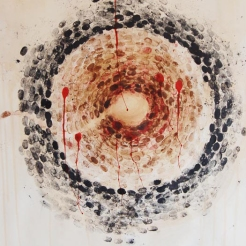 Vrun, 2012, Thumbprints and Ink, Tea stain, Artist's blood on Paper, 35 X 24 inch.