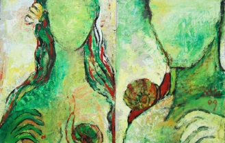The Lovers-3, 2009, Oil on Board