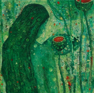Walking in a Surrealistic Garden-2, 2009, Oil on Canvas, 10 X 10 inch.