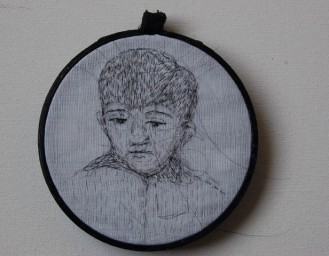 2016, Fabric and Artist's Hair, 3 X 3 inch