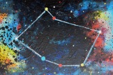Constellationscape – 85/88 (Vela) 2017, Acrylic on Canvas Board, 9 X 12 inch.