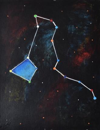 Constellationscape – 34/88 (Draco) 2017, Acrylic on Canvas Board, 14 X 18 inch.