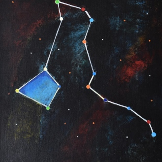 Constellationscape – 34/88 (Draco) 2017, Acrylic on Canvas Board, 14 X 18 inch.